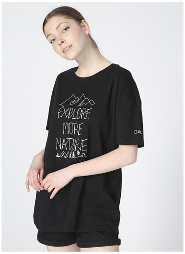 National Geographic National Geographic Kadın Siyah Bisiklet Yaka T-Shirt Siyah